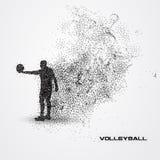Jogador de voleibol de uma silhueta da partícula Foto de Stock