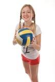 Jogador de voleibol fêmea feliz Imagem de Stock Royalty Free