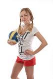 Jogador de voleibol fêmea feliz Fotografia de Stock Royalty Free