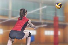 Jogador de voleibol profissional fêmea na corte de voleibol imagens de stock royalty free