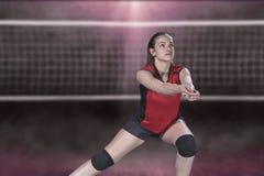 Jogador de voleibol profissional fêmea na corte de voleibol imagem de stock