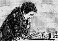 Jogador de xadrez no tabuleiro de xadrez ilustração do vetor