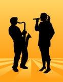 Jogador do cantor e do saxofone ilustração royalty free