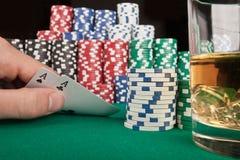 Jogador do conceito? A do póquer com ás dobro? Imagem de Stock Royalty Free