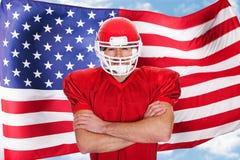 Jogador do desportista do futebol americano Fotografia de Stock