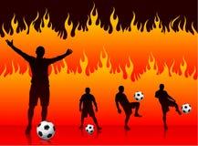 Jogador do futebol/futebol no fundo do incêndio do inferno ilustração do vetor