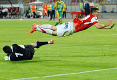 Jogador do futebol ou de futebol e goleiros Imagem de Stock