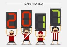 Jogador do futebol ou de futebol que mostra a placa da substituição com massagem do ano novo feliz 2017 Vetor ilustração do vetor