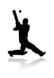 Jogador do grilo na silhueta da ação Foto de Stock Royalty Free
