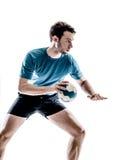 Jogador do handball do homem isolado foto de stock