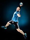 Jogador do handball do homem isolado fotos de stock royalty free