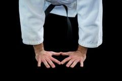 Jogador do karaté que faz a flexão de braço Imagem de Stock Royalty Free