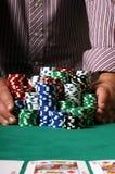 Jogador do póquer que vai tudo dentro Foto de Stock Royalty Free
