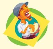 Jogador do pandeiro estalando acima da bandeira brasileira Foto de Stock