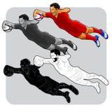 Jogador do rugby do voo Imagens de Stock Royalty Free