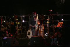 Jogador do saxofone Fotografia de Stock