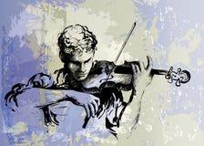 Jogador do violino Concerto da música clássica ilustração desenhado à mão do vetor ilustração royalty free