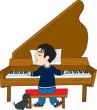Jogador e cão de piano ilustração royalty free