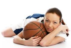 Jogador fêmea da esfera da cesta fotos de stock royalty free