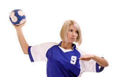 Jogador fêmea do handball Fotografia de Stock Royalty Free