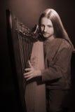 Jogador irlandês da harpa Harpist do músico Fotografia de Stock Royalty Free