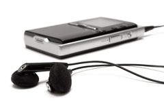 Jogador MP3 com fones de ouvido Fotos de Stock Royalty Free