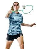 Jogador novo do badminton da mulher da menina do adolescente isolado Fotos de Stock
