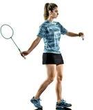 Jogador novo do badminton da mulher da menina do adolescente isolado Foto de Stock Royalty Free