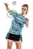 Jogador novo do badminton da mulher da menina do adolescente isolado Imagens de Stock
