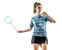 Jogador novo do badminton da mulher da menina do adolescente isolado Foto de Stock
