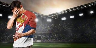 Jogador triste da Sérvia Imagens de Stock Royalty Free
