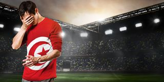 Jogador triste de Tunísia Fotografia de Stock