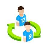 Jogadores da substituição no ícone 3d isométrico do futebol Imagem de Stock
