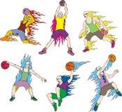 Jogadores de basquetebol com flamas Foto de Stock Royalty Free
