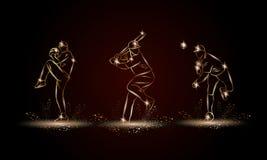 Jogadores de beisebol ajustados Ilustração linear dourada do jogador de beisebol para a bandeira do esporte, fundo ilustração royalty free