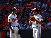 Jogadores de campo dos Baltimore Orioles imagem de stock