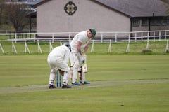 Jogadores de cricket que jogam o grilo no parque fotos de stock