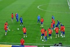 Jogadores de equipa nacional espanhóis do futebol durante o aquecimento Imagem de Stock Royalty Free