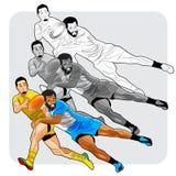 Jogadores de esforço do rugby Imagem de Stock Royalty Free