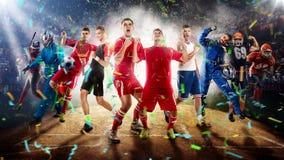 Jogadores de esportes diferentes na rendição do estádio de basebol 3D Imagem de Stock
