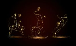 Jogadores de futebol ajustados Ilustração linear dourada do jogador de futebol para a bandeira do esporte, fundo Fotos de Stock Royalty Free