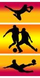 Jogadores de futebol Assorted Fotos de Stock Royalty Free