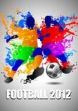 Jogadores de futebol com uma esfera de futebol. Illust do vetor Fotografia de Stock Royalty Free