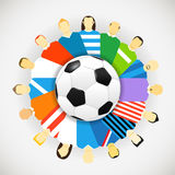 Jogadores de futebol das equipas nacionais em torno da bola de futebol Fotografia de Stock Royalty Free