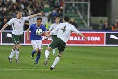 Jogadores de futebol de Iaquinta, de O'Shea e de Dunne Imagem de Stock