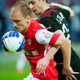 Jogadores de futebol desconhecidos Imagem de Stock