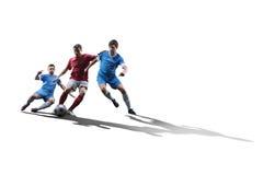 Jogadores de futebol na ação Imagens de Stock