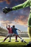 Jogadores de futebol na ação no fundo do estádio do por do sol Imagens de Stock Royalty Free