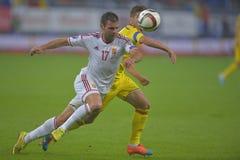 Jogadores de futebol que lutam pela bola Imagens de Stock