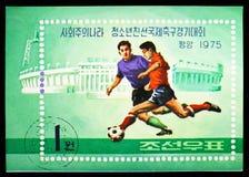 Jogadores de futebol, serie de Junior Friendship Soccer Tournament, cerca de 1975 foto de stock royalty free